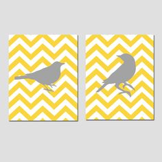 Set of Two 8 x 10 Prints - Chevron Birds - Perfect for Bathroom, Nursery, Kitchen, Bedroom - You Choose the Colors - Yellow, Gray, Red, Etc