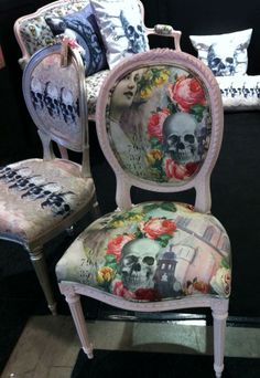 Antique chair with Van Asch Edwardian Gothic fabric painted in Annie Sloan chalk paint.