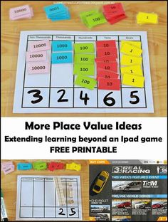 I would print the cards representing units in a particular period the same color. More Place Value Ideas - FREE printable - Example on extending learning beyond an ipad game with the use of FREE printable resource Teaching Place Values, Learning Place, E Learning, Teaching Math, Second Grade Math, First Grade Math, Math Resources, Math Activities, Place Value Activities