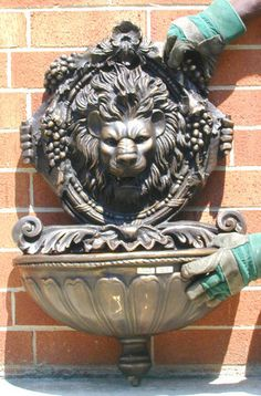 Small Cast Bronze Lion Wall Water Fountain | eBay