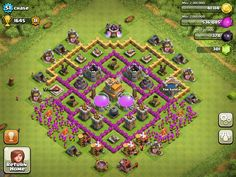 Base Design Town Hall Level 7-4 Defensive on Ultimate Clash of Clans Guide  http://ultimateclashofclansguide.com/base-designs/level-7/