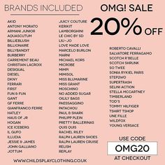 BRANDS Included In Our 20% OMG SALE #LimitedTime  Shop Now www.childsplayclothing.co.uk WORLDWIDE SHIPPING ✈️