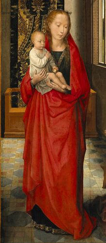 By Hans Memling, 1472, The Virgin and Child with St. Anthony Abbot and a Donor, oil on oak. National Gallery of Canada