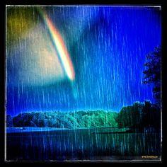 Rainbow rain over Elleholm  #Elleholm #rainbow
