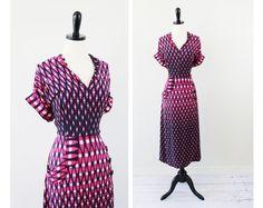 vintage 1930s Pink and Black Art Deco Silk Swing Dress  $224