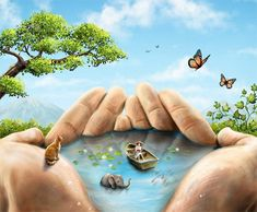 World in a hand - What would your world be like? Who would live in it? Why do they need to live in your hand?