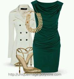 emerald, cream, and gold