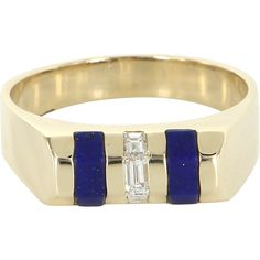 Vintage Mens Lapis Lazuli Diamond 14 Karat Yellow Gold Dress Ring Estate Fine Jewelry Pre Owned 11