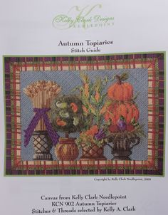Kelly Clark NP Autumn Topiaries Stitch Guide Hand Painted Needlepoint Canvas   eBay