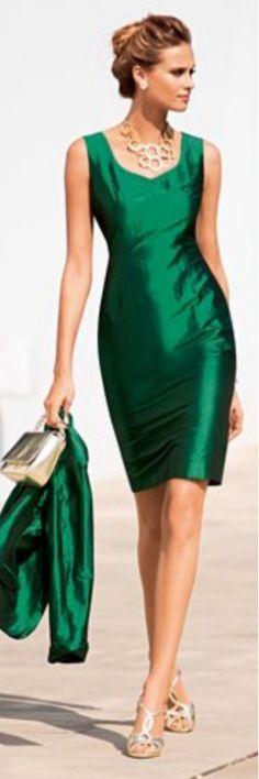Madeleine emerald green dress, made of pure silk - 2014