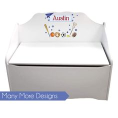 Personalized Toy Box for Boys Kids Toybox Bench Toy Storage