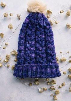 Purple Haze Hat, free knitting pattern in Malabrio Merino Worsted yarn by Kristina Kittelson for AllFreeKnitting.com via Underground Crafter