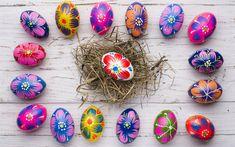 Télécharger fonds d'écran Oeufs de Pâques peints, décoration, Pâques, printemps, nid, gris les conseils, les fleurs peintes sur les oeufs