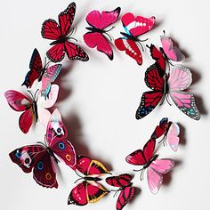 Popular PVC Three-Dimensional Simulation Butterfly Wall Stickers Wall Art Decals(Assorted Colours)(12 Pcs) - EUR € 2.44