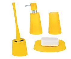 Set di 4 accessori bagno in polipropilene Move Frosty giallo