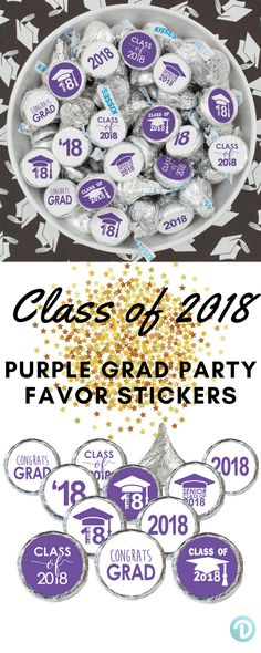 These Class of 2018 Purple Graduation Party Stickers create the perfect finishing touch to your upcoming Graduation Event.