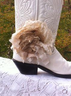 Ivory Cream Burlap Linen & Lace/ Shabby Flower by DolledandDazzled