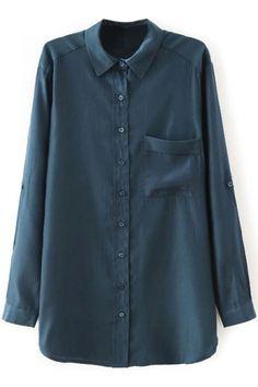 Plain Lapel Single Pocket Boyfriend Shirt