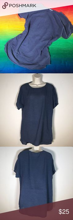 Pure Jill blue shirt sleeves tunic size small Pure Jill blue shirt sleeves textured cotton tunic, size small. Small snag, see photo, but not noticeable when wearing. Measurements in photos. Create a bundle and I'll send you an offer! J. Jill Tops Tunics