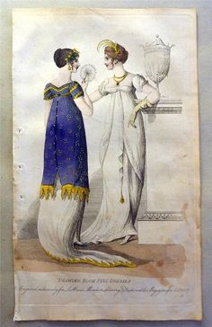 A bright blue overdress. 1807 le beau monde. Ebay.  ...   ...   ...   full front aprons for wearing over fancy outfits!