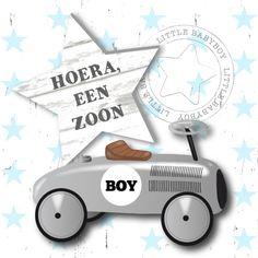 Een stoere en hippe felicitatie met loopauto en sterren voor de geboorte van een jongen! Pas eventueel de teksten aan.