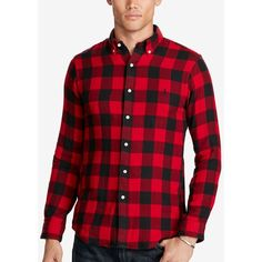 Polo Ralph Lauren Men's Plaid Double-Faced Sport Shirt (£93) ❤ liked on Polyvore featuring men's fashion, men's clothing, men's shirts, men's casual shirts, mens button up shirts, mens polo button down shirts, mens plaid button up shirts, mens french cuff shirts and mens plaid button down shirts