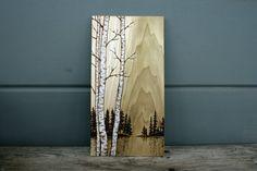 Birch Trees Art Block Wood burning by TwigsandBlossoms on Etsy