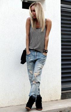 boyfriend jeans + Isabel Marant = laidback sexy