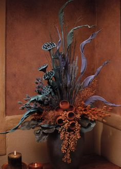 Fall Floral Arrangements, Dried Flower Arrangements, Beautiful Flower Arrangements, Silk Flowers, Dried Flowers, Art Floral Japonais, Flower Installation, Rustic Flowers, How To Preserve Flowers