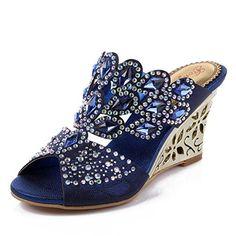 3cef4e55093cae Wawoo Fashion Rhinestones Wedge Sandals for Women Midheel Sandals Open Toe  Slippers Wedge
