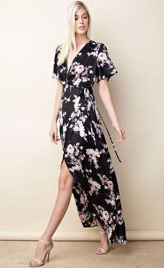 Marley Black Floral Wrap Maxi Dress
