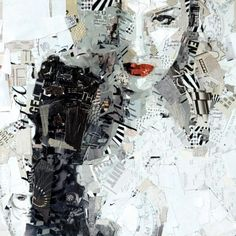 New York born Derek Gores is best known for his ripped paper collage portraits, made using recycled magazine pages and other found parts. Collage Portrait, Collage Artists, Portraits, Magazine Collage, Magazine Art, Derek Gores, Fashion Collage, Fashion Art, Fashion Design