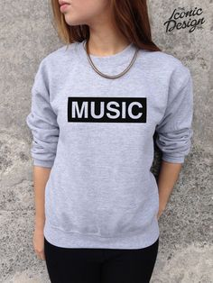 MUSIC Fashion Slogan Jumper Top Sweater Indy Rock Rap Punk Hipster Retro Tumblr on Etsy, £14.99