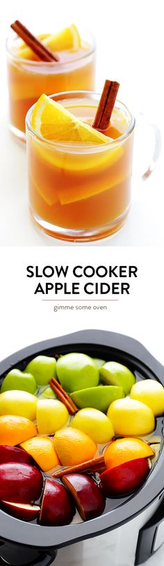 Learn how to make Slow Cooker Apple Cider in the crock pot with this delicious recipe!  It's easy to make, you control the sweetness, and it will make your home smell amazing!   gimmesomeoven.com