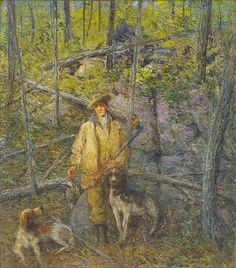 Hunter and Dogs, J. Alden Weir, n.d., oil on canvas, 36 x 32 1/8 in. (91.5 x 81.6 cm), Smithsonian American Art Museum, Gift of Mrs. Charles Burlingham,1973.50