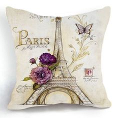 OJIA Retro Vintage Sketch Eiffel Tower Purple Flower Home 18 X 18 Inch Cotton Linen Decorative Throw Cushion Cover / Pillow Sham