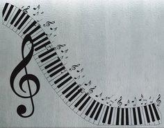 Teclado de piano  pared calcomanía vinilo decoración por uBerDecals