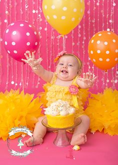 cake-smash-madison-wi-pink-yellow