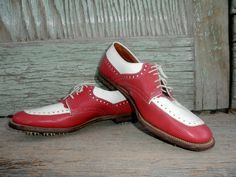 Your place to buy and sell all things handmade White Golf Shoes, Walking Shoes, 1970s, Oxford Shoes, Dress Shoes, Women's Oxfords, Lace Up, The Incredibles, Spikes