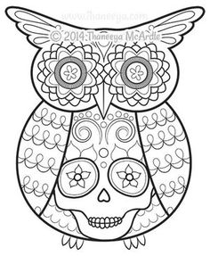 Day of the Dead Coloring Book Owl by Thaneeya