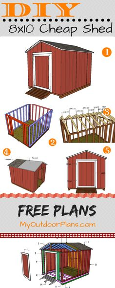 This step by step diy project is about cheap shed plans. I have designed this small shed so you can use it for basic store. This is not a fancy shed that requires thousands and thousands of dollars to make, but a super basic utility shed that ca Small Shed Plans, Small Sheds, Diy Shed Plans, Dyi Shed, Shed Plans 8x10, Wood Shed Plans, Shed Conversion Ideas, Granny Pods, Building A Storage Shed