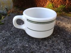 Homer Laughlin Coffee Cup Mug Green Stripe Restaurant ware on Etsy, $7.50