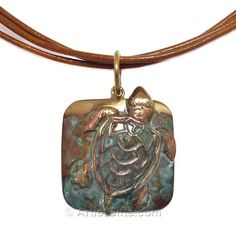 Cast Brass Sea Turtle Necklace with Rawhide Cord