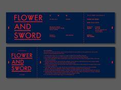 Flower and Sword on Student Show Ticket Design, Flyer Design, Layout Design, Pamphlet Design, Collateral Design, Sword Design, Typography Layout, Coupon Design, Brochure Design