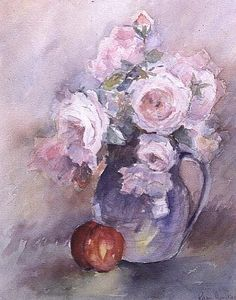 Image: Karen  Armitage - Pink Roses in a Blue Jug, 1994 (w/c)