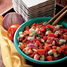Tomato Cucumber Salad | Nutrition Facts (per serving): Calories – 41, Total Fat – 1.9g, Dietary Fiber – 1.5g, Protein – 1.2g, Vitamin C – 36%