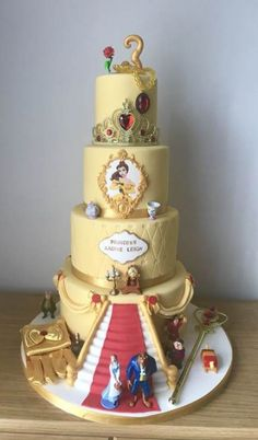 A Round up of our Favourite Princess Birthday Decorations and DIYs Beauty And The Beast Wedding Cake, Beauty And Beast Birthday, Beauty And The Beast Theme, Wedding Beauty, Beauty And The Beast Cake Birthdays, Beauty Beast, Pretty Cakes, Beautiful Cakes, Amazing Cakes