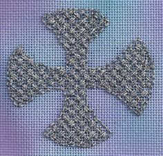 needlepoint cross in Criss-cross Hungarian using Kreinik's holographic metallic, stitched by Janet M. Perry, design by Michele Roberts, on Nature's Palette canvas