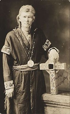 I'm curious about the cross in the portrait. Studio prop? Obviously not a Catholic crucifix. Looks Celtic, but the designs on it resemble Dutch. ???  Jeremiah Bartlett Alexis (aka Jeremiah Lone Cloud, aka Haselam Luxey) - Mi'kmaq - circa 1930