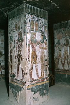 Egypt, Luxor, Valley of the Kings, Tomb of Seti I, entrance with frescoes